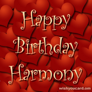happy birthday Harmony hearts card