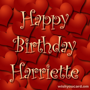 happy birthday Harriette hearts card