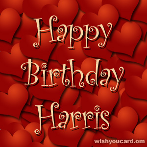 happy birthday Harris hearts card