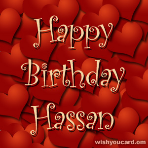happy birthday Hassan hearts card