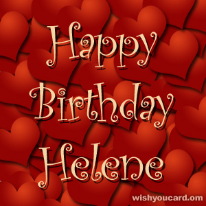 happy birthday Helene hearts card