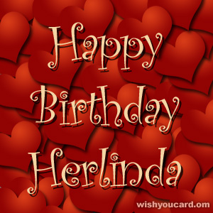 happy birthday Herlinda hearts card