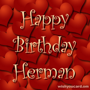 happy birthday Herman hearts card