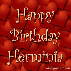 happy birthday Herminia hearts card