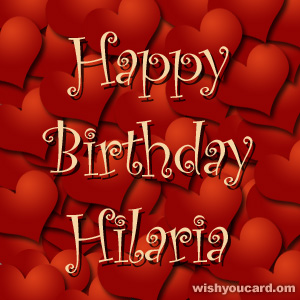 happy birthday Hilaria hearts card