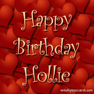 happy birthday Hollie hearts card