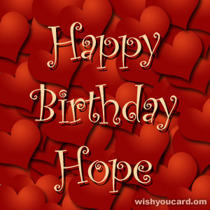 happy birthday Hope hearts card
