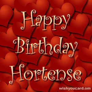 happy birthday Hortense hearts card