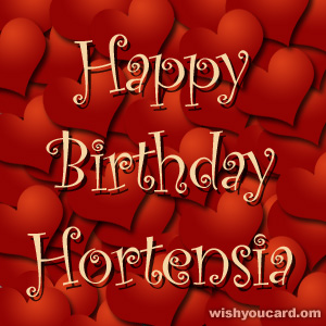 happy birthday Hortensia hearts card