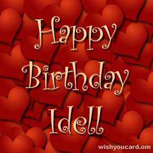 happy birthday Idell hearts card
