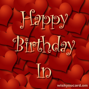 happy birthday In hearts card