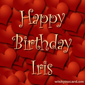 happy birthday Iris hearts card