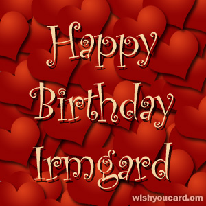happy birthday Irmgard hearts card