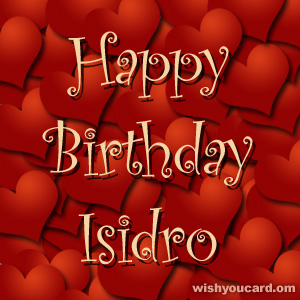 happy birthday Isidro hearts card