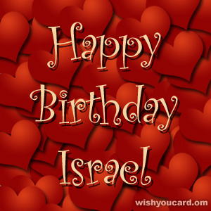 happy birthday Israel hearts card