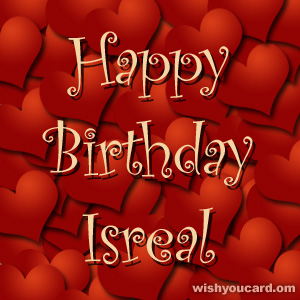 happy birthday Isreal hearts card