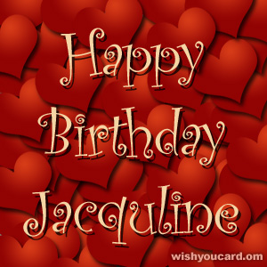 happy birthday Jacquline hearts card
