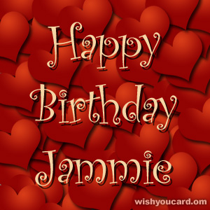 happy birthday Jammie hearts card