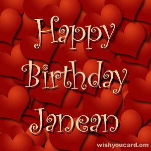 happy birthday Janean hearts card