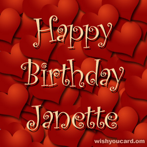 happy birthday Janette hearts card