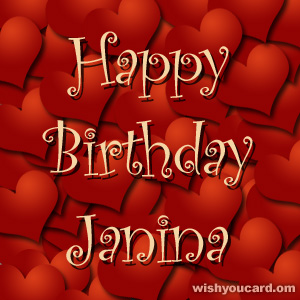 happy birthday Janina hearts card