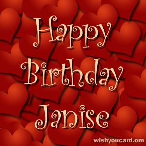 happy birthday Janise hearts card