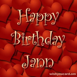 happy birthday Jann hearts card