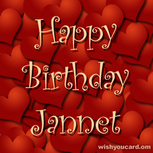 happy birthday Jannet hearts card