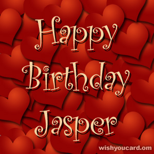 happy birthday Jasper hearts card