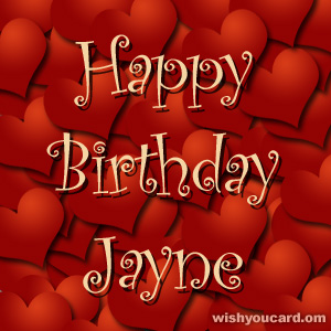 happy birthday Jayne hearts card