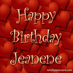 happy birthday Jeanene hearts card
