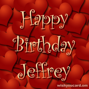 happy birthday Jeffrey hearts card