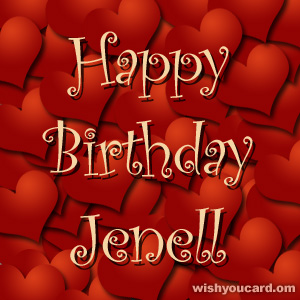 happy birthday Jenell hearts card