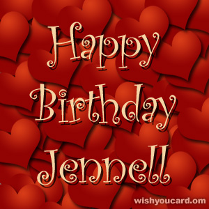 happy birthday Jennell hearts card