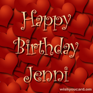 happy birthday Jenni hearts card