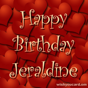 happy birthday Jeraldine hearts card