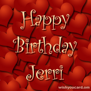 happy birthday Jerri hearts card