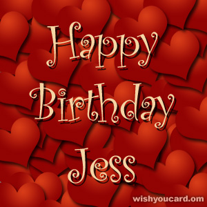 happy birthday Jess hearts card