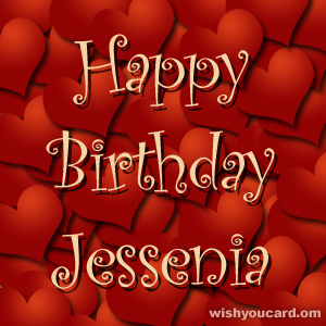 happy birthday Jessenia hearts card