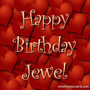 happy birthday Jewel hearts card