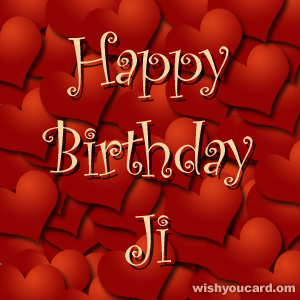 happy birthday Ji hearts card