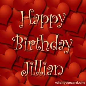 happy birthday Jillian hearts card