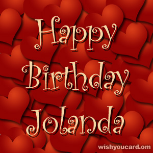 happy birthday Jolanda hearts card