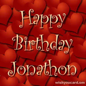 happy birthday Jonathon hearts card