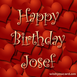 happy birthday Josef hearts card