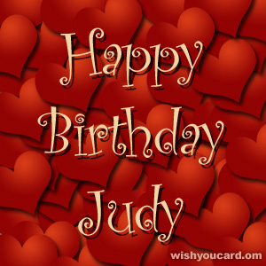 happy birthday Judy hearts card