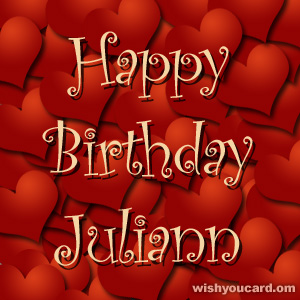 happy birthday Juliann hearts card