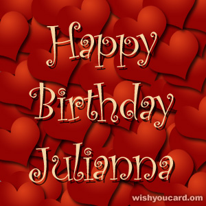 happy birthday Julianna hearts card