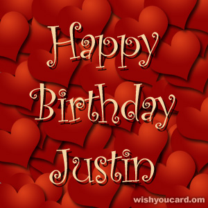 happy birthday Justin hearts card