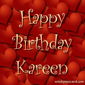 happy birthday Kareen hearts card